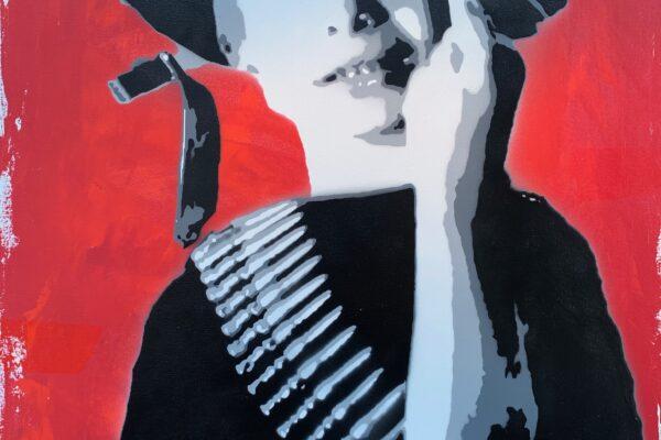 """40""""x 30"""" - Acrylic and spray on canvas"""