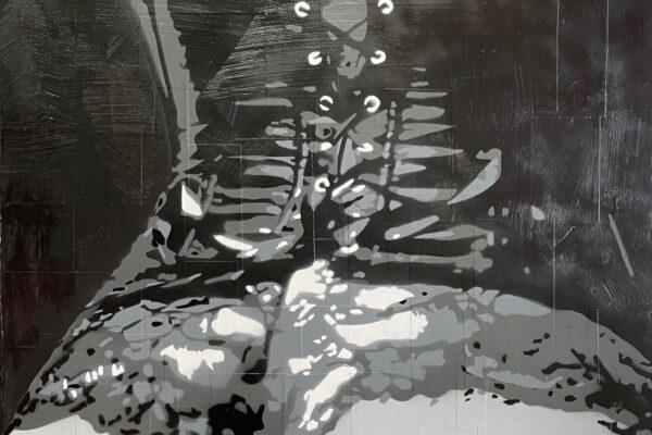 """40""""x 30"""" - Acrylic, mixed media and spray on canvas"""