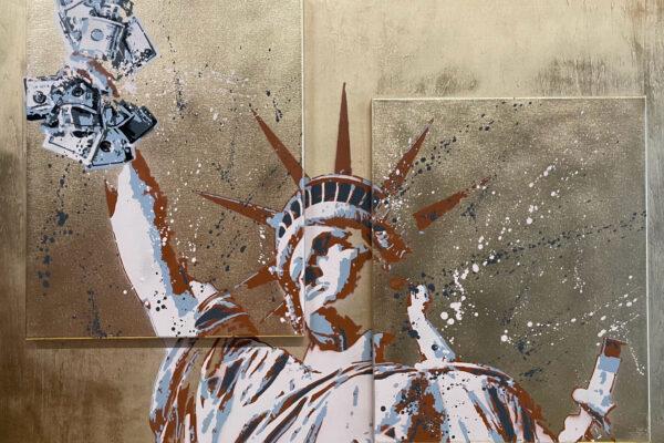 """40""""x 30"""" - Acrylic & spray on wood panel / canvas"""