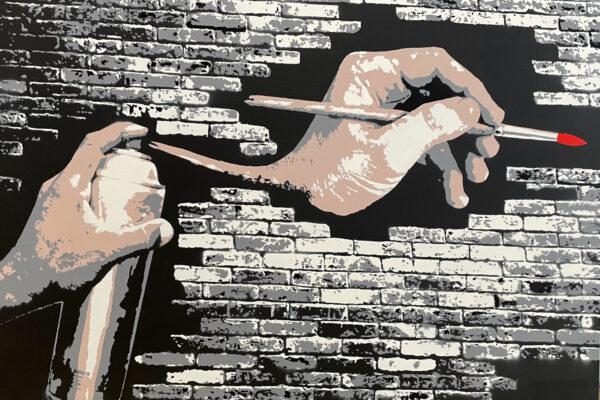 """30""""x 40"""" - Acrylic and spray on canvas"""