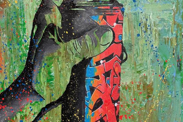 """24""""x 30"""" - Oil, acrylic and spray on canvas"""