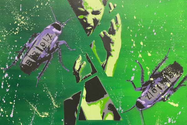 """24"""" x 18"""" Acrylic and spray on canvas"""