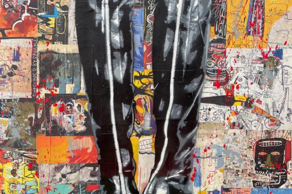 "24"" x 30"" Acrylic and spray on mixed media and canvas"